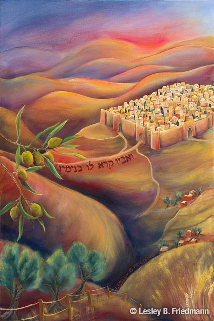 Benjamin from the 12 Tribes of Israel landscape paintings by Lesley Friedmann depicts the biblical city of Jerusalem in the Land of Israel.
