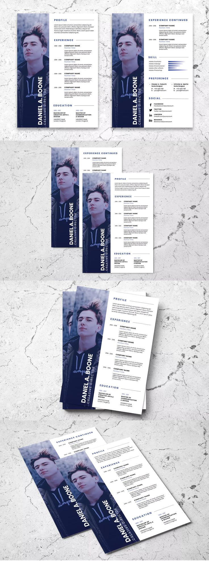 Clean Minimalist CV Resume AI and PSD Flyer Template