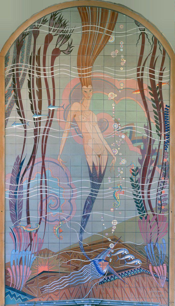 Details about hassam garden painting ceramic bathroom tile murals 2 - Mermaid On Avalon Casino Mural Catalina Island 1929 John Gabrielle Beckman