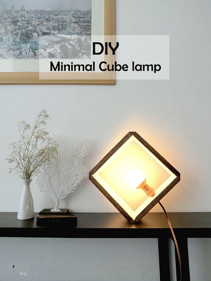 DIY: minimal wooden cube lamp