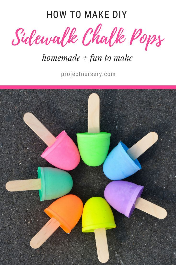"""This year, put a spin on this classic summer pastime and mix up a batch of your own colorful DIY sidewalk chalk """"pops."""""""
