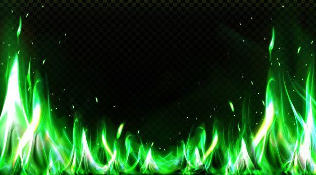 Download Realistic Green Fire Border Burning Flame Clipart For Free Fogo Verde Sinal De Neon Imagens Verde