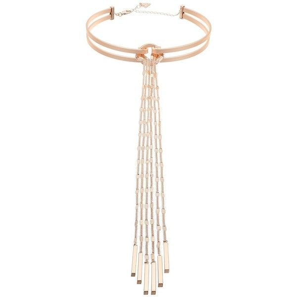 GUESS Choker with Long Fringe Chain (Rose Gold/Matte Gold) Necklace ($45) ❤ liked on Polyvore featuring jewelry, necklaces, rose gold long necklace, rose gold choker, charm necklace, rose gold choker necklace and long pendant necklace