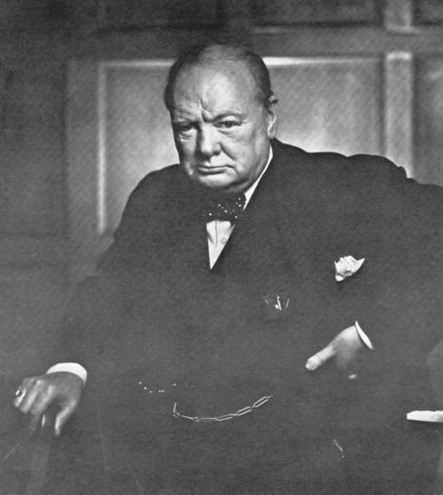 Portrait of Winston Churchill [1941]        This photo was taken by Yousuf Karsh, a Canadian photographer, when Winston Churchill came to Ottawa.  This is claimed as the most reproduced photographic portrait in history. This also appears on the cover of Life magazine.    The picture usually hangs on the staircase of Number 10. Take a virtual tour here:     http://www.number10.gov.uk/history-and-tour/virtual-tour-of-number-10/