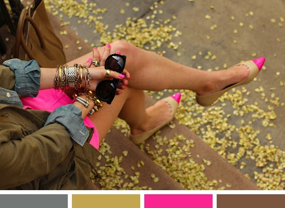 Color Inspiration: Hot Pink on the StepsShoes, Colors Combos, Fashion, Bright Pink, Style, Hot Pink, Flats, Anne Taylors, Neon Pink