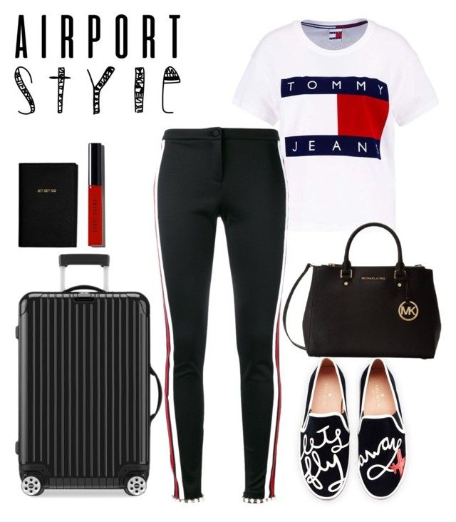 """""""airport"""" by roselie1405x on Polyvore featuring Tommy Hilfiger, Gucci, Kate Spade, Rimowa, Katie Loxton, Bobbi Brown Cosmetics and Michael Kors"""
