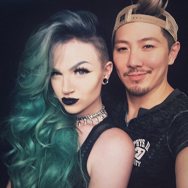 This is a zombae and hair bestie family portrait. ️ Thank you @guy_tang for giving me this rocker haircut that makes me feel all sassy!  I've been wanting to do this for years and never had the guts to but you guys have taught me to take more chances and just go for it. Worst comes to worse, it's just hair and it grows back or there's always wigs  but luckily I LOVE it and it feels so me that I'm not sure why I didn't take the plunge sooner.