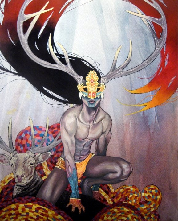 The Greenman  Cernunnos/Herne the Hunter...Horned God Series by Artist Nicholas Cordell Orr...