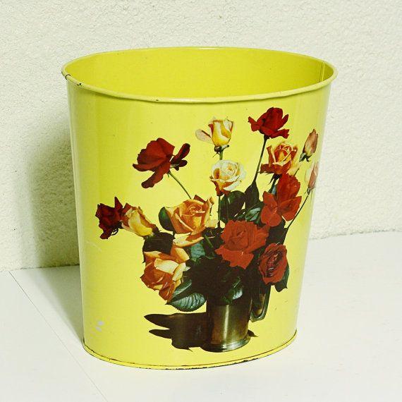 Vintage Trash Can   Waste Basket   Metal   Yellow   Roses