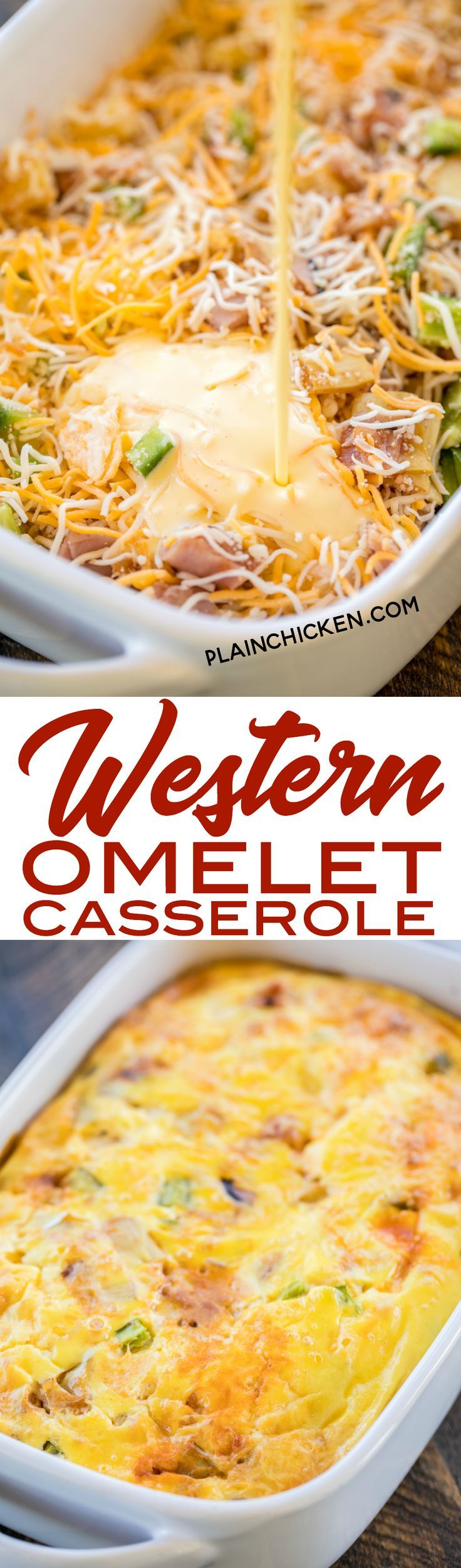 Western Omelet Casserole - perfect for breakfast, lunch or dinner. Ham, onion, bell pepper, artichokes, salsa, eggs, sour cream and cheese. No crust, so it is a great low-carb option. Only 4.5 Weight Watcher points per serving!! #casserole #omelet #breakf