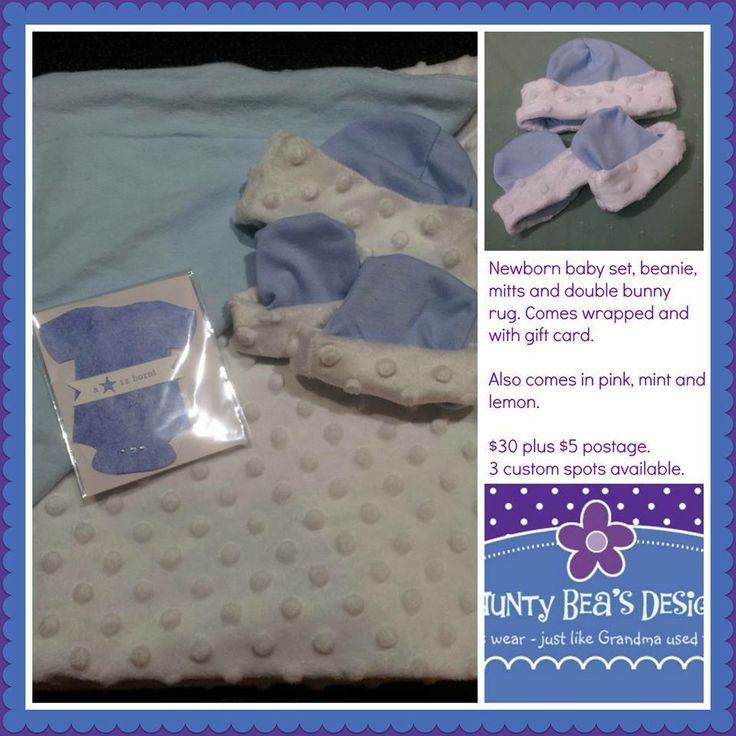 Newborn baby set contains beanie, mitts and double bunny rug. Winter Wonderland Market Night opens at 9pm, on Tuesday 27th May, 2014. The first person to comment sold will be able to purchase the item direct from the business listed on the item.