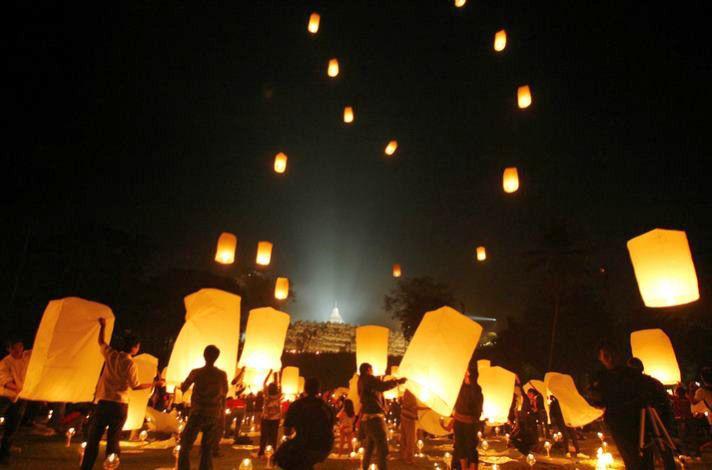 follow party celebration lantern night at Borobudur temple