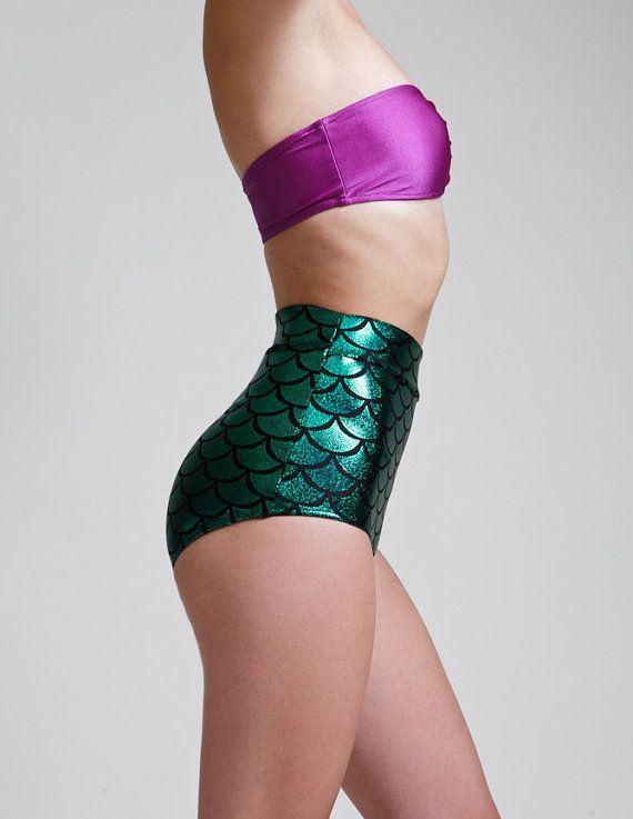 Groene hoge taille zeemeermin Bikini Bottom Pinup door AliciaZenobia | Making my mermaid dreams come true!?