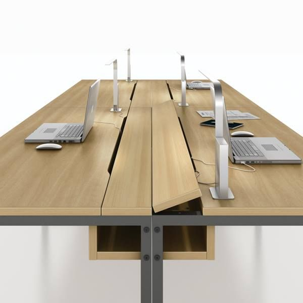Office Interiors, Office Design: Fold Up Power Strip On Office Table Via