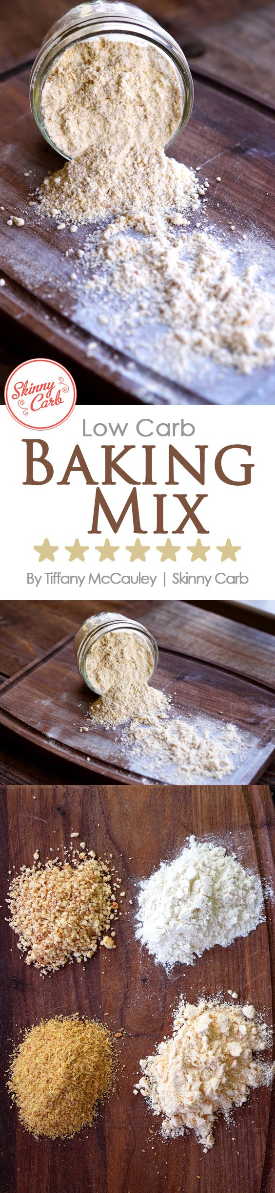 This wonderful, low carb baking mix is perfect for breads, rolls and even waffles! Mix up a batch to day to store in your cupboard! ~ http://www.skinnycarb.com