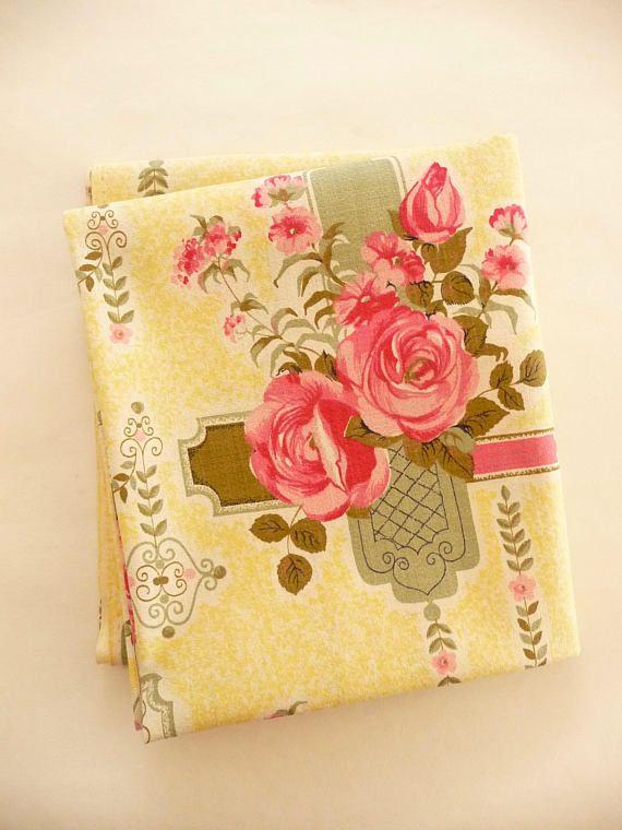 Pink Rose Print Cotton Fabric Vintage New