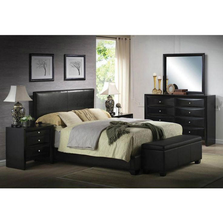 Queen Faux Leather Panel Bed Frame Upholstered Headboard Footboard #fauxleather #queensize #panelbed #platform