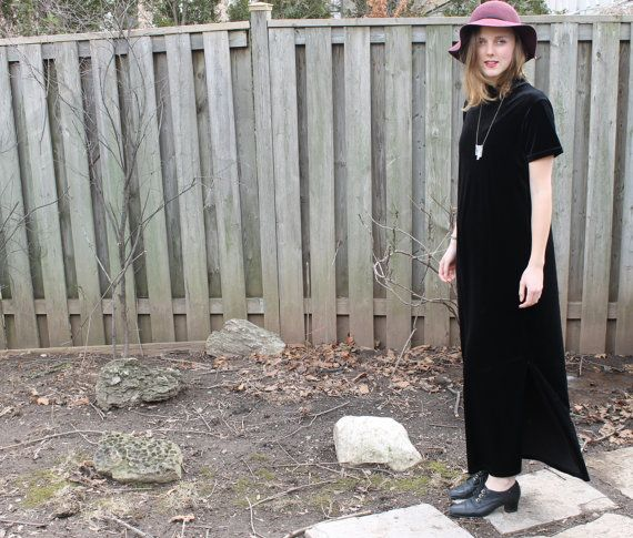90s Goth style, vintage black velvet maxi dress with slits comfortable and extremely styish