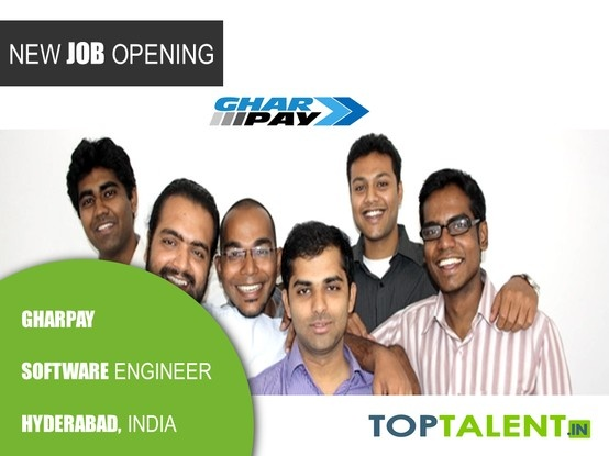 Fresher Openings for Software Engineers at Gharpay, a Sequoia Capital funded Company. Compensation: 6.5 LPA | Experience: 0-2 years  Help create the next generation payments company. Apply now at: http://www.toptalent.in/job/817/software-engineer-hyderabad-india