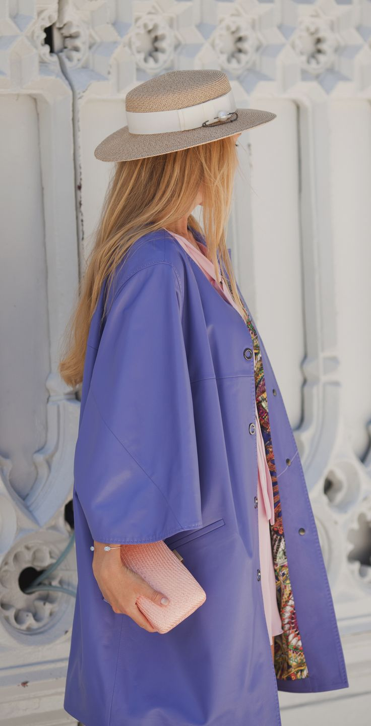 Purple leather trench-coat by ADAMOFUR #spring #purple #leather #pink #pastel #fashion #look #ootd #luxury #shopping #Istanbul