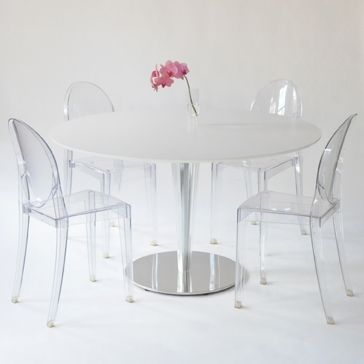 Kristalo Table In White With Victoria Ghost Chairs   Taylor Creative Inc