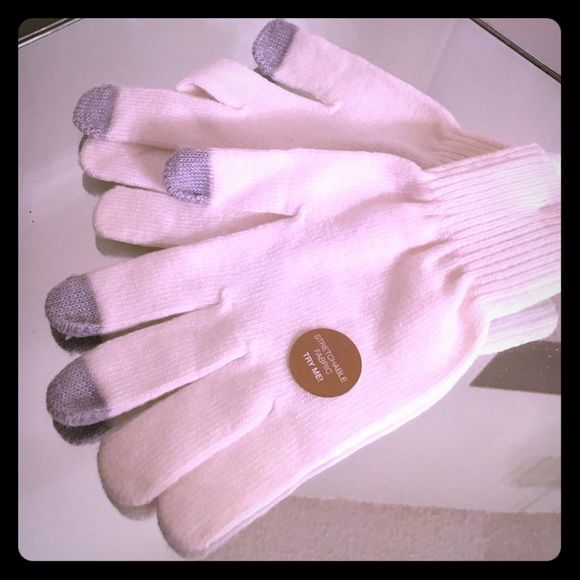 NWT Julian date stretchable fabric text gloves Ivo New in plastic from manufacture a pair of Julian date stretchable fabric texting gloves in the color Ivory! These are absolutely beautiful and sooooo soft! Not Only that they have a great fit and are not bulky at all! The texting fingers are that of gray of course and these shipped to you within one business day! Thank you for looking and enjoy Julian date Accessories Gloves & Mittens