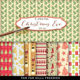 Far Far Hill - Free database of digital illustrations and papers: New Freebies Kit of Backgrounds - Christmas Eve