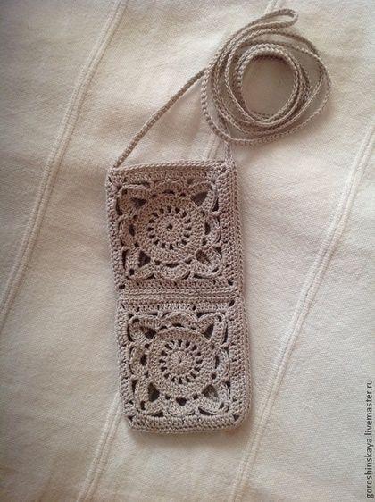 Чехол для мобильного телефона крючком - серый,цветочный,чехол для тел� | своими руками | Постила