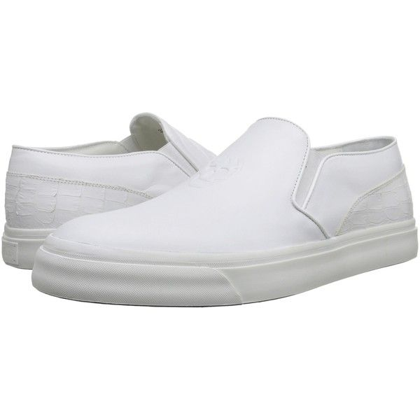 Alexander McQueen Embossed Slip-On Trainer (White) Men's Slip on... ($486) ❤ liked on Polyvore featuring men's fashion, men's shoes, men's sneakers, white, mens sneakers, mens shoes, alexander mcqueen mens shoes, mens white slip on sneakers and mens white slip on shoes