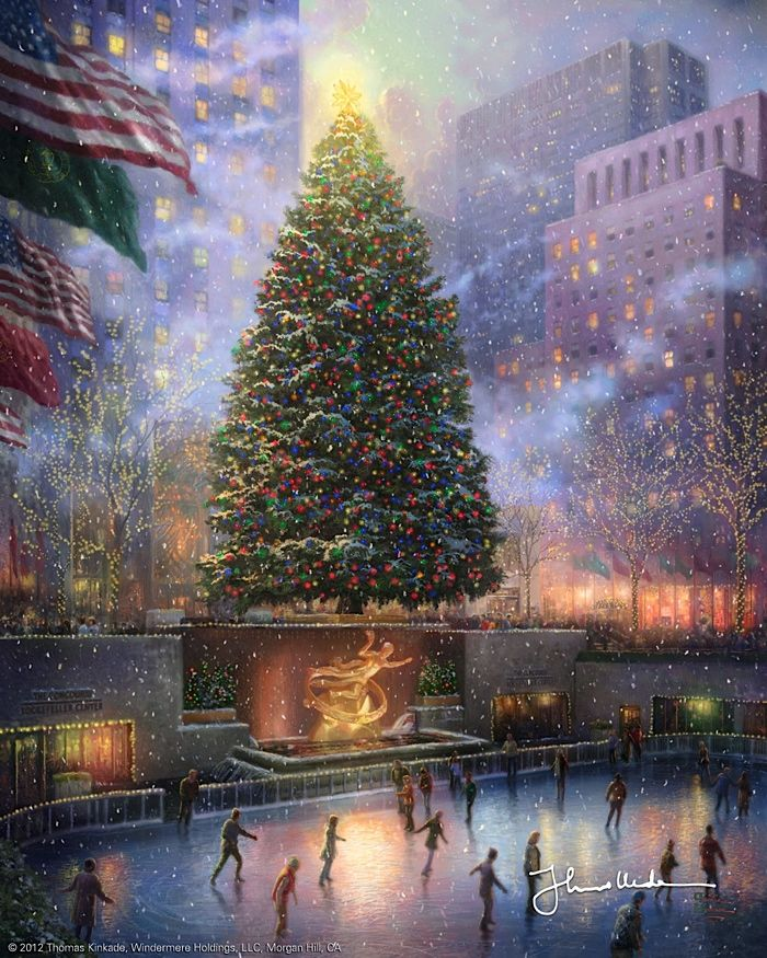 Thomas Kinkade - Christmas in New York  2008 one of my favorite memory's from Christmas last year!! Ice skating at Rockefeller center!
