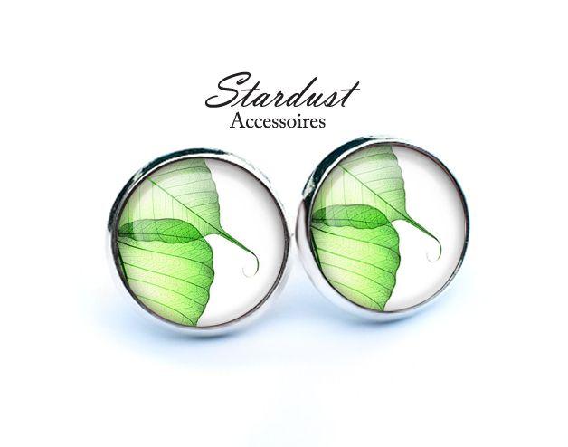 Ohrstecker silber ✿ leuchtend grün ✿ von Stardust Accessoires auf DaWanda.com