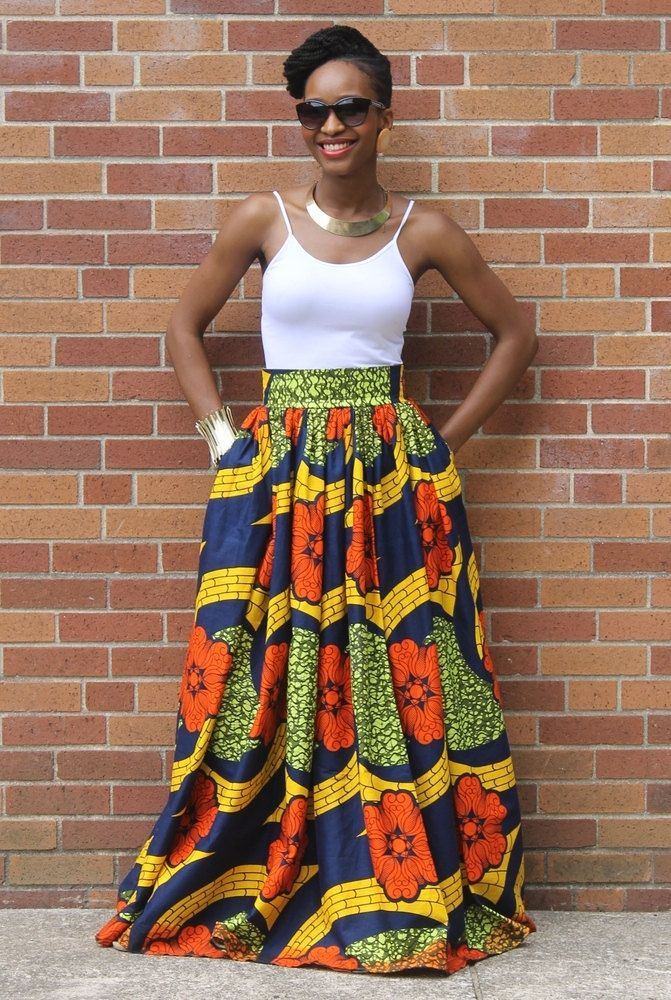 African Print Maxi Skirt, Ankara Maxi Skirts, African clothings by JustJeanFashion on Etsy