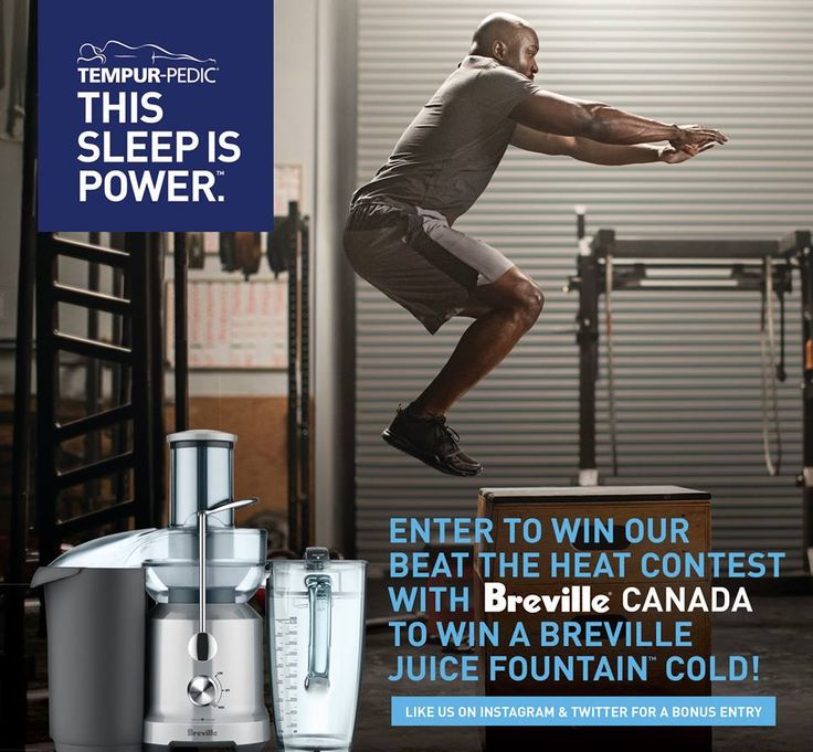 Tempur-Pedic Canada Like This Page · June 1 · Edited ·    ENTER to WIN the Breville Juice Fountain Cold: http://smarturl.it/JuiceFountainCold  We have partnered with Breville Canada to take HEAT off the table. Heat can be the enemy of nutrition and people looking for a good night's sleep