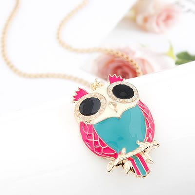Wonderful Blue Sweet Owl Pendant Alloy Korean Necklaces Blue. Small and catchy. REPIN if you like it.😍 Only 26 IDR