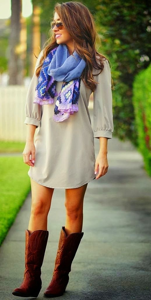 Colourful scarf, dress and long boots style for fall