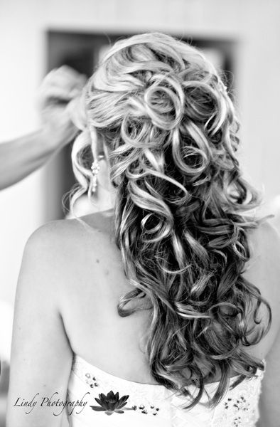 Half upstyle with long curls bridal hairstyle #weddinghairstyles