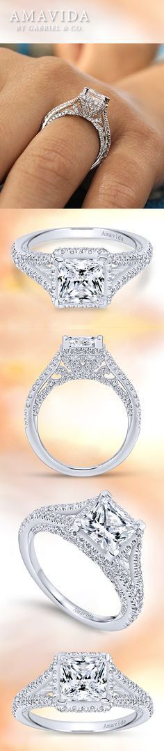 Let the beauty of your heart speak with this stunning 18k white gold, princess-cut diamond engagement ring. The side view displays the overall detailed craftsmanship. Discover more engagement rings with unique detailing in our Amavida by Gabriel & Co. collection on our website!