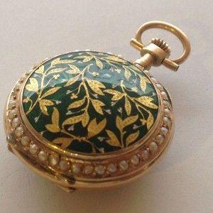 Zlaté kapesní hodinky – Jeptišky zelený smalt perličky 1