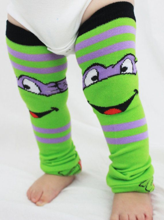 Baby to Toddler Ninja Turtle Baby Leg Warmers, Donatello, Purple Halloween Costume, Dress Up, Boy Leg Warmers