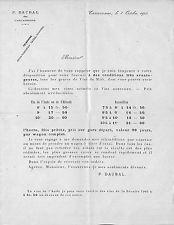11 CARCASSONNE COURRIER DAUBAL TARIF VINS HERAULT & AUDE 1902