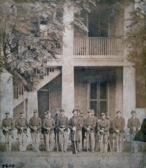 """(Image:  A photograph of German cavalry at Jackson Barracks during the American Civil War)  """"Immigrants in Civil War New Orleans (1861-1865) by G. Howard Hunter, Metairie Park Country Day School, last updated July 27, 2011.  """"On the eve of the Civil War, New Orleans was a polyglot of Creoles, Anglo-Americans, free people of color (gens de couleur libres), slaves, and immigrants from all over the globe.  In a population of 170,000 people, roughly 70,000 were immigrants...."""""""