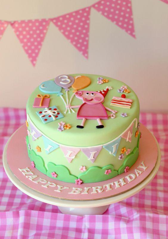Butter Hearts Sugar Pastel Peppa Pig Cake cakepins.com