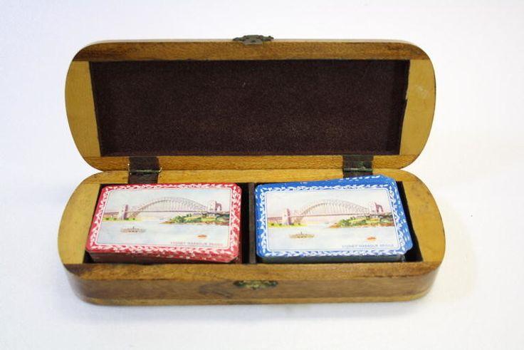 Playing cards and box, Sydney Harbour Bridge souvenir, wood; c. 1932; 2014.22.1
