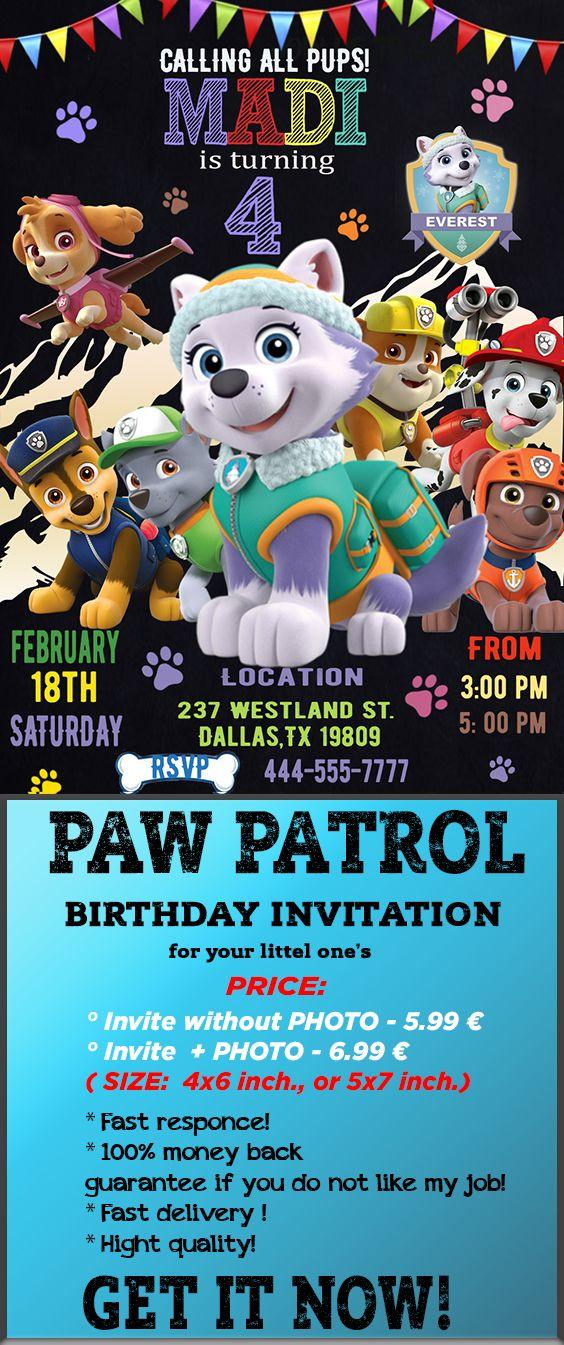 Paw Patrol Invitation Everest Party Invite Girl Printable Birthday In 2018
