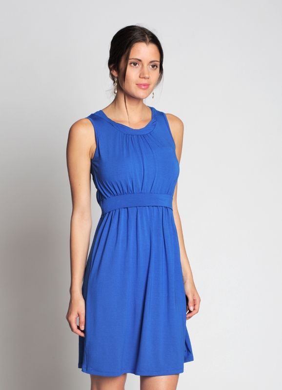 Blue nursing dress without sleeves in bamboo fiber