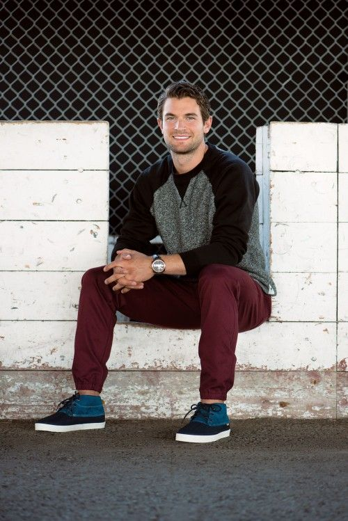 Sweatshirt, $143, and pants, $132, both by Muttonhead from North American Quality Purveyors; shoes by Vans, $100, from Gravity Pope; rose gold Radiomir watch by Panerai, price upon request, from Brinkhaus. #galiardi #calgaryflames #style