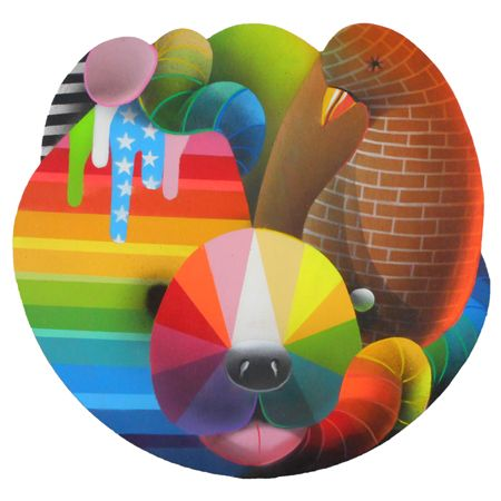 Okuda  San Miguel Animal Mask 3 - 2014 Synthetic enamel on wood 50 cm diameter  Enquiries: info@19karen.com.au
