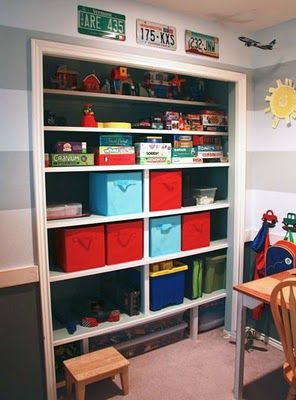 love the idea of taking the door off the closets in the kids rooms- opens them up for better organization- prevents slammed/pinched fingers...