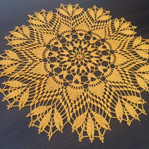 Springtime-Handmade-Crochet-Lace-Doily-Wall-Decor-Tablecloth-Mustard-Yellow