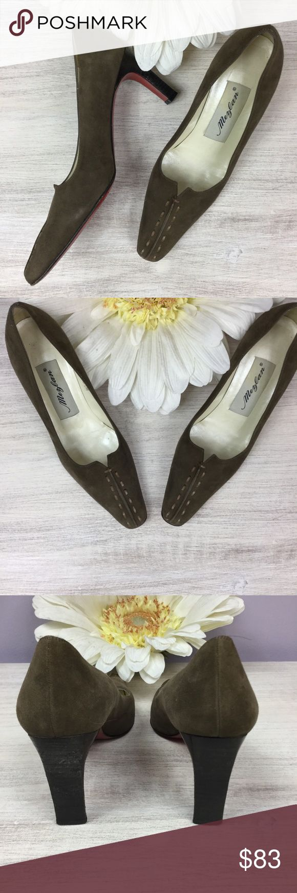 Mezlan Vero Cuio red bottom shoes! Ladies, it doesn't get any more magnificent than these shoes! Authentic olive brown suede Mezlan Vero Cuoio heels with red bottom soles. As you can see they are in great condition. Minor wear on soles. Made in Spain. A treasure for any shoe lover! Mezlan Shoes Heels